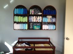 Cloth Diaper Storage...I must say that this shelving is cute!