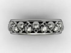 Staci Elliott Custom Order Mens or Womens Skull Wedding Band Sterling Silver with NO STONES- UDINC0329