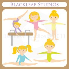 Gymnastics Clipart Set Digital Download Images by BlackleafClipart, $5.00