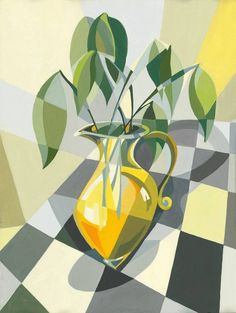 ARTFINDER: Still Life in Yellow by Paola Minekov - This bold still life has a bright and happy tonality and geometric composition. Cubist Art, Abstract Art, Composition Drawing, Polygon Art, Still Life Drawing, Guache, Arte Pop, Klimt, Printmaking