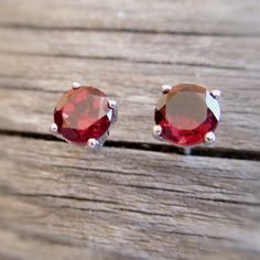 Red garnet stud earrings in sterling silver small 6 mm red studs Jewelry gift…