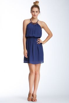 As U Wish Necklace Gauze Halter Dress