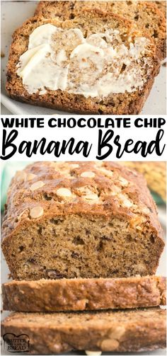 White Chocolate Chip Banana Bread is an incredible variation on classic banana bread! Sweet white chocolate and banana blending together to create an amazing banana bread recipe you need to try! from BUTTER WITH A SIDE OF BREAD Easy Banana Bread, Chocolate Chip Banana Bread, Banana Bread Recipes, White Chocolate Chips, Homemade Desserts, Easy Desserts, Delicious Desserts, Dessert Recipes, Recipes Using Fruit