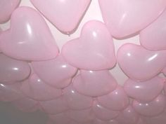 Pink & pale balloons; hearts.