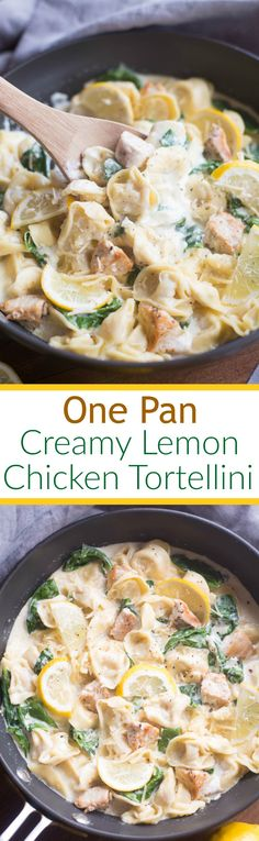One Pan Creamy Lemon Chicken Tortellini - an easy one pan pasta dish that the entire family will love. Tortellini pasta with grilled chicken and…