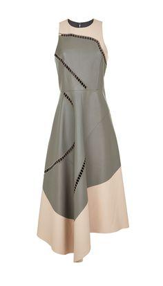Tibi - Eska Cut Out Leather Seamed Drape Dress