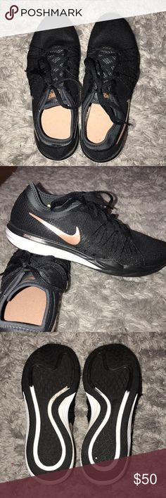Nike Dual Fusion Shoes Only worn twice, just a little to big for me. I would say they run true to a size 8.5. Black shoe with pretty rose gold detailing.   ❌NO TRADES❌ Nike Shoes Athletic Shoes