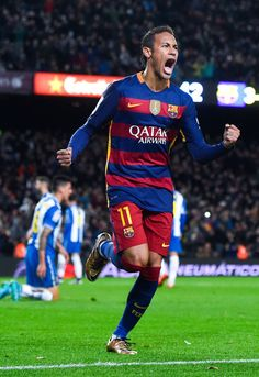Neymar of FC Barcelona celebrates after scoring his team's fourth goal during the Copa del Rey Round of 16 first leg match between FC Barcelona and RCD Espanyol at Camp Nou on January 6, 2016 in Barcelona, Catalonia.