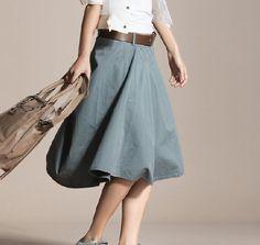 Unique Knee Length Skirt Bud Skirt For Summer in Grey Blue  - NC327. $59.99, via Etsy.