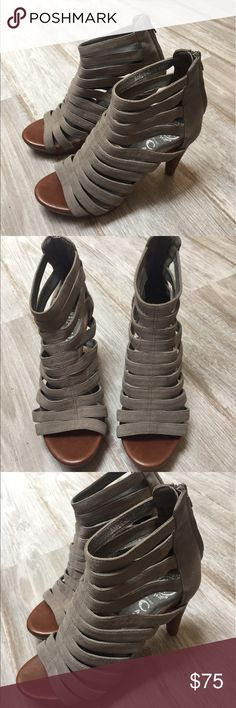 """Jeffrey Campbell Marley Caged Sandal - NEW Jeffrey Campbell light grey suede sandal. Size 7. Never worn! Leather upper, Wood. Rubber sole. Heel: 4"""" with 1"""" covered Platform. Please see slight scuff in last picture. Jeffrey Campbell Shoes Heels"""