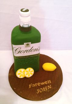 gin bottle shaped cake - Google Search Gin And Tonic Cake, Gordon's Gin, Barrel Cake, Bottle Cake, Foundant, 30 Birthday Cake, Gin Bottles, Girl Cakes, Let Them Eat Cake