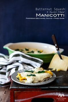 Butternut Squash Manicotti with Parmesan Cream Sauce and Fried Sage ...