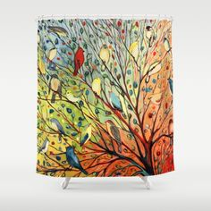 Buy Shower Curtains featuring 27 Birds by Jennifer Lommers. Made from 100% easy care polyester our designer shower curtains are printed in the USA and feature a 12 button-hole top for simple hanging.