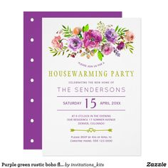 Shop Purple green rustic boho floral housewarming party invitation created by invitations_kits. Invitation Kits, Custom Invitations, Housewarming Party Invitations, Pink Peonies, Paper Design, Holiday Parties, House Warming, Birthday Parties, Place Card Holders