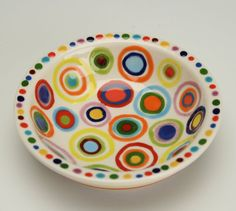 Circles Bowl Small Hand Painted Dinnerware Multicolor