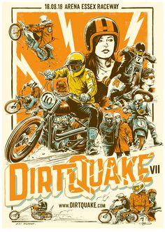 Illustration and Design by Adi Gilbert. Bike Poster, Motorcycle Posters, Motorcycle Style, Bike Style, Online Print Shop, Character Drawing, Vintage Posters, Harley Davidson, Illustration Art