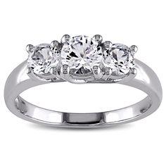 Miadora 10k White Gold 1 1/3ct TW Created White Sapphire 3-stone Engagement Ring (