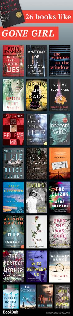 26 Thrillers That Could Be This Year's 'Gone Girl' 26 books like Gone Girl to read in including recommended thrillers to add to your reading list. I Love Books, Good Books, Books To Read, Big Books, Reading Lists, Book Lists, Reading Books, Reading Music, Happy Reading