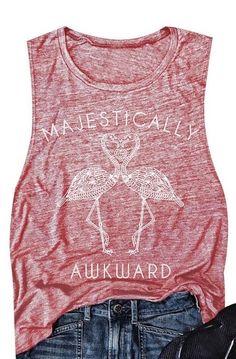 Women's Flamingo Print Sleeveless Tank Top