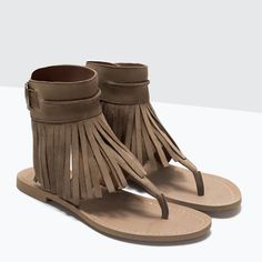 ZARA - WOMAN - FRINGED LEATHER SANDALS