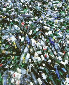 View of empty glass bottles for recycling - Stock Image T820/0265 ...