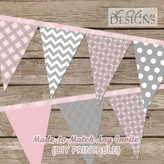 MadetoMatch Pennant Party Banner DIY Printable by LOlsonDesigns