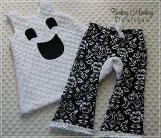Minky Dot Dress Swing Top - Boo Ghost-