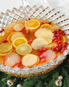 Christmas Rum Punch - the Cranberries are the ice cubes!