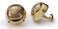 <b>PUFF CUFFLINKS</b>, 20mm in metal pattern E<br /> – 18kt yellow, red and gray gold with etched copper, 18kt yellow gold panels and findings.