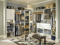 Soothing Hues...Think about what colors attract you when designing your closet. Grays, blues and browns make this closet by ClosetMaid a serene place to get dressed and spend time. For an invigorating space, opt for reds, oranges and other bright colors.