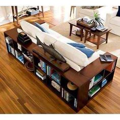 Great use of storage around the couch