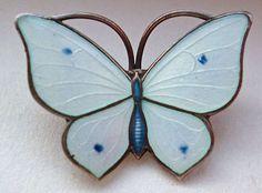 Marius Hammer Sterling Silver Enamel Butterfly Brooch