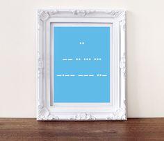 I Miss You print, secret message morse code