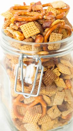 Duck Fat Chex Mix recipe made in the crock pot.