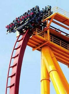 The roller coaster was designed by company Bolliger & Mabillard, and is said to be among the world's most rollercoasters. Amusement Park Rides, Roller Coasters, Golden Gate Bridge, Touring, Adventure Travel, Scary, Las Vegas, Entertaining