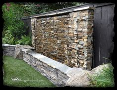 Different stone and add scuppers, but narrow raised rectangular vessel to collect falling water