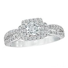 1 Ct D/VVS1 Frame Split Shank Engagement Ring In 14K White Gold # With Free Stud Earrings by JewelryHub on Opensky
