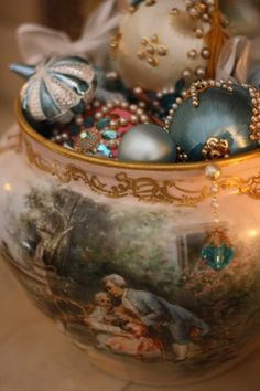 I have some Christmas ornaments from when I was a child, set out in a bowl just like this.
