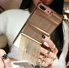Metalic Chains Tassel Case for iPhone Fluffy Phone Cases, Bling Phone Cases, Diy Phone Case, Cute Phone Cases, Iphone 7 Cases, Cell Phone Pouch, Best Cell Phone, Mobile Accessories, Phone Accessories