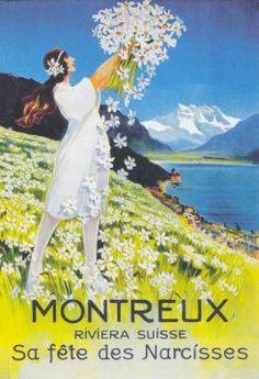 Carte Fête Narcisses Poster Ads, All Poster, Vintage Ski, Vintage Travel Posters, Evian Les Bains, Swiss Travel, Narcisse, Travel Ads, Travel Expert