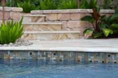 Our Fusion tile series, shown here in Pinwheel, combines different colors and textures in one harmonious design. Backyard Pool Designs, Pool Landscaping, Backyard Ideas, Glass Pool Tile, Pool Tiles, Florida Pool, Rectangle Pool, Pool Finishes, Pool Remodel