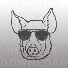 Country Farm Livestock Pig in Sunglasses SVG File -Commercial & Personal Use- Vector art for Cricut,Silhouette Cameo,iron on vinyl shirt