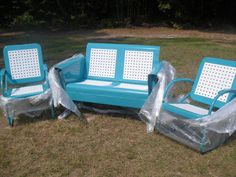 Ready To Go.Completed Basketweave Pattern Old Metal Vintage Porch Glider Set.Loveseat And 2 Rockers....