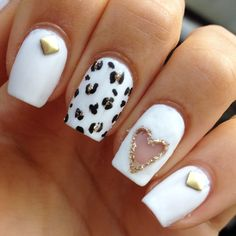 White nails with cheetah and hearts :) follow @nikkyc7