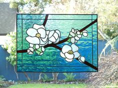 Stained Glass Spring Blossoms Window by ShatteredbyLight on Etsy, $185.00