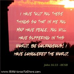 """have told you these things so that in Me you may have peace. You will have suffering in this world. Be courageous! I have conquered the world."""" John (HCSB) - Bible Verses To Share Peace Bible Verse, Bible Scriptures, John 16 33, Love Quotes, Inspirational Quotes, How He Loves Us, Favorite Bible Verses, Feeling Down"""
