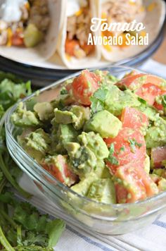 Learn how to make this delicious and healthy Tomato Avocado Salad in minutes! Mexican Food Recipes, Vegetarian Recipes, Cooking Recipes, Healthy Recipes, Ethnic Recipes, Healthy Foods, Delicious Dinner Recipes, Yummy Recipes, Recipies