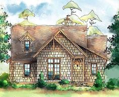 Small shingle-style cottage plan - I would probably swap the living room with the kitchen/dining area. I really don't like houses with the entry in the dining room.