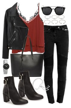 """""""Outfit with jeans and a leather jacket"""" by ferned ❤ liked on Polyvore featuring AllSaints, Kiki de Montparnasse, Zara, Forever 21, Acne Studios, Yves Saint Laurent, Topshop, Skagen and Monica Vinader"""