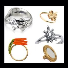 one direction rings- harry=cat, niall=clover, louis= carrots, liam= turtles, and zayn= mirror